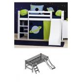 Paaukštinta XXL, moduliuojanti lova su čiuožykla, su pasvirusiomis kopetėlėmis