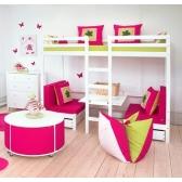 Dviaukštė lova BASIC, su pakeliamu stalu (200 x 90 cm)